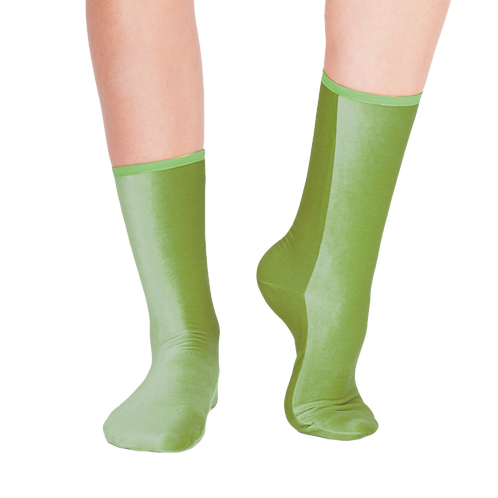 VELVET ANKLE SOCKS - apple green ( available also as SPLIT TOE SOCKS )