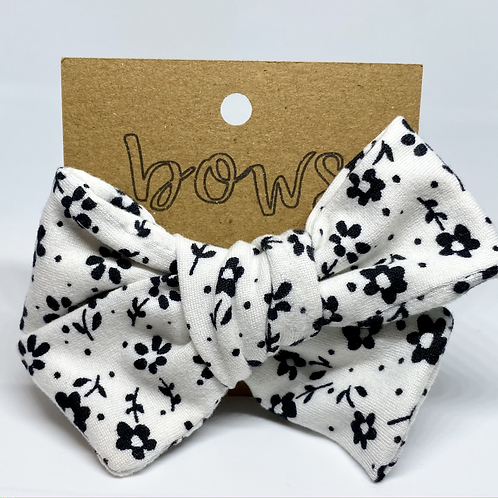 black and white floral bow
