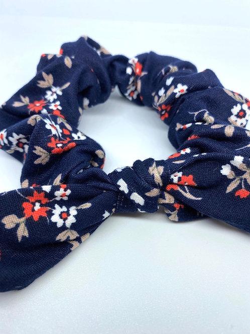 navy floral scrunchie