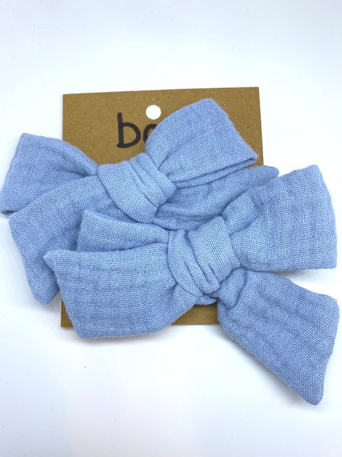 baby blue mesh bow