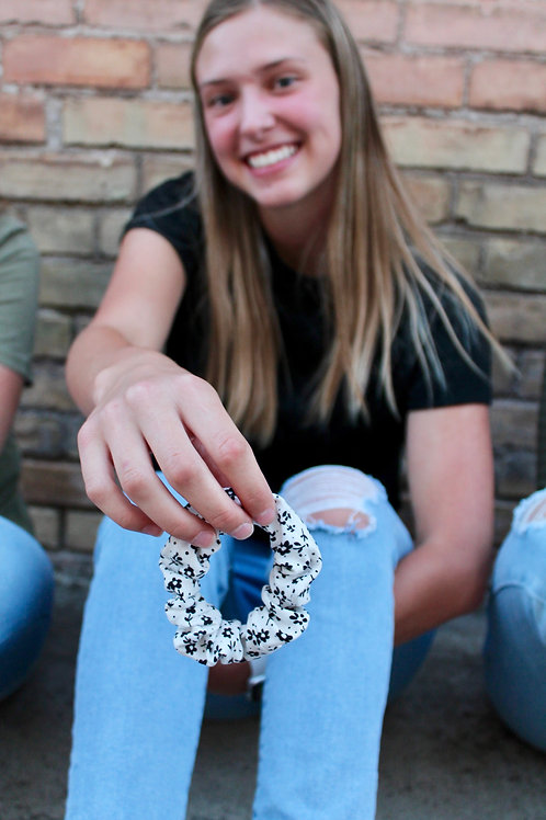 black floral scrunchie