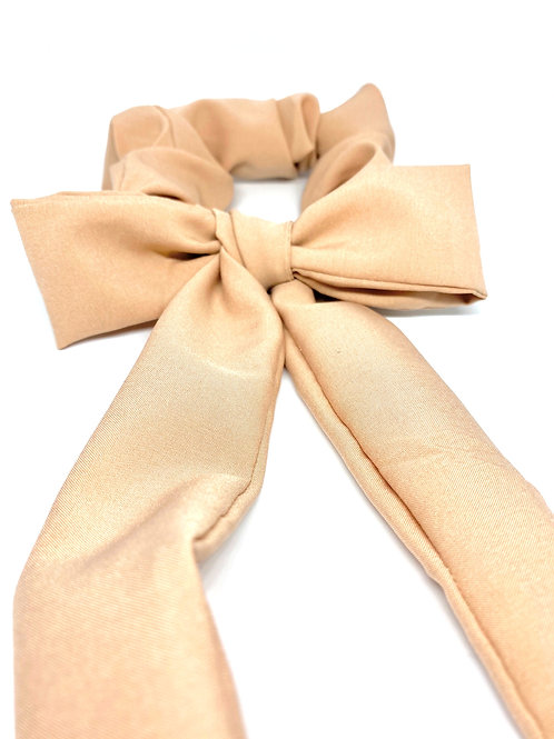 tan silk tied scrunchie