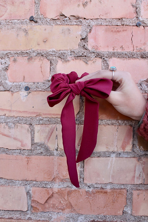 cherry tied scrunchie