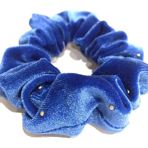 blue and gold velvet scrunchies