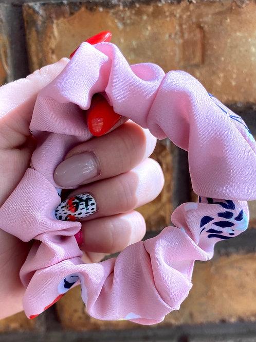 pink silk floral scrunchies