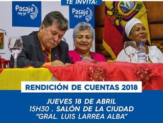 INVITACIÓN A LA RENDICIÓN DE CUENTAS 2018