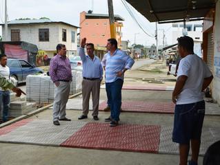 SE INICIÓ UBICACIÓN DE BALDOSA EN ACERAS DE LA CALLE BOLÍVAR PARROQUIA BUENAVISTA