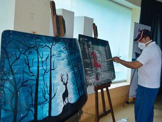 Arte de pintar en vidrio reciclado