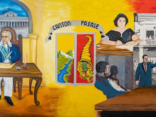 Alcaldía de Pasaje develó mural firma decreto cantonización de Pasaje de las Nieves.