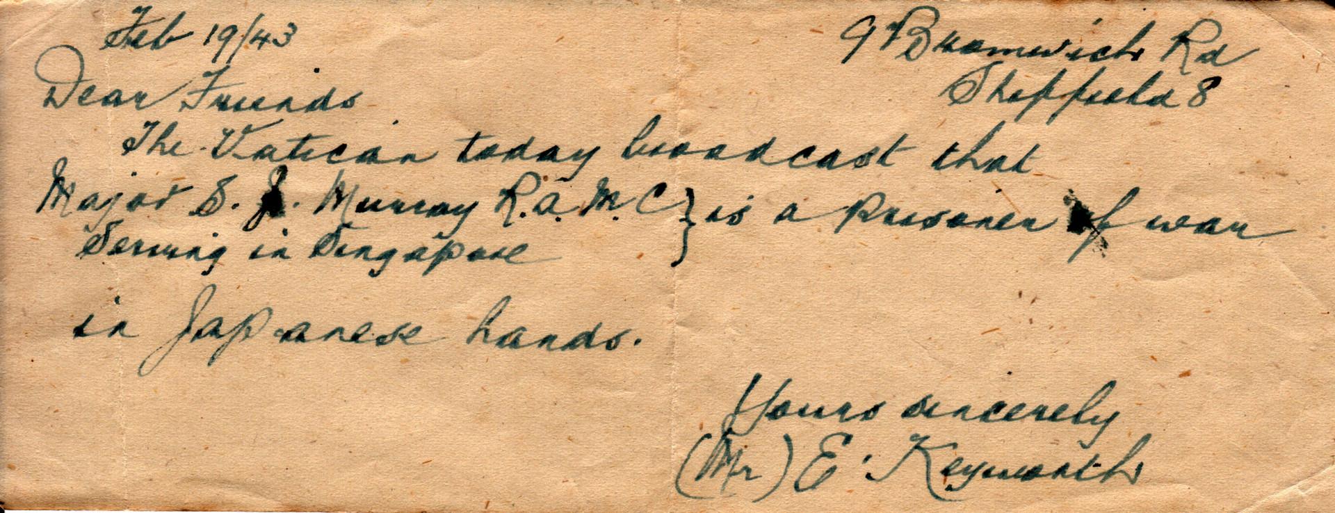 1943.02.19 Vatican Keyworth