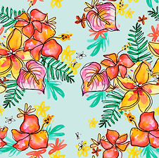 Tropical print_red hibiscus_blue.jpg
