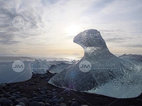 Ice Sculpture on Black Sand