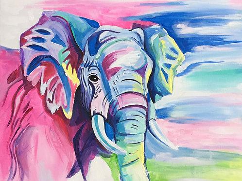 Pastel Elephant - SIGNED Print