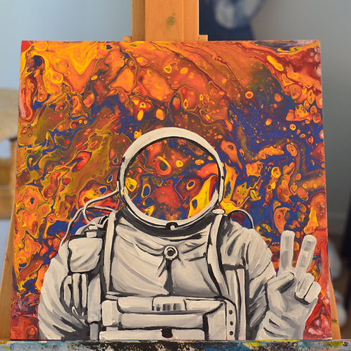 """Astronaut in Space - Peace Sign (18"""" by 18"""" SIGNED Canvas Print Pre-Order)"""