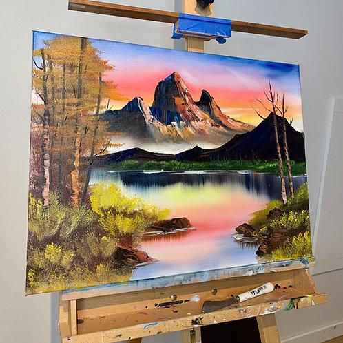 Original Bob Ross Style Mountain Landscape