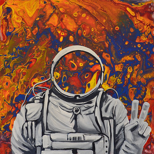 "Astronaut In Space - Peace Sign (10"" by 10"" SIGNED Print Pre-Order)"