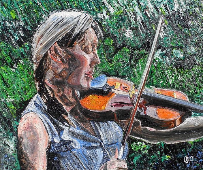 120 x 100 cm - La violoniste