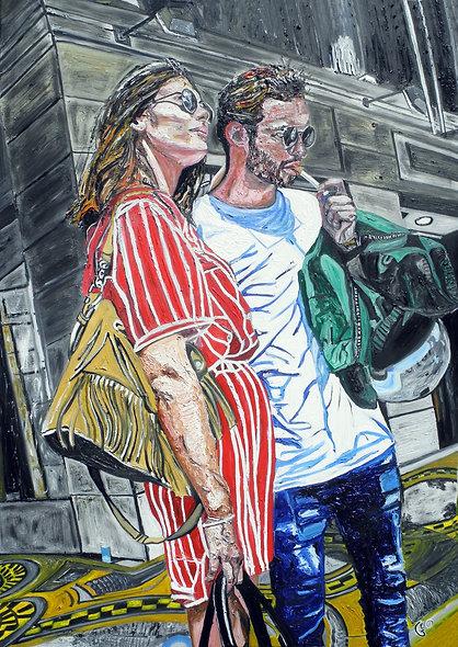100 x 140 cm - Junges Paar in der rue de Rivoli, Paris