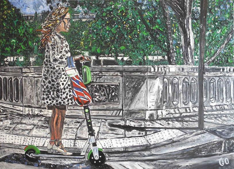 130 x 100 cm - Femme sur trottinette, Île St Louis - Paris