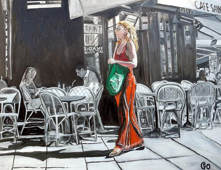 130 x 100 cm - La fille en rouge