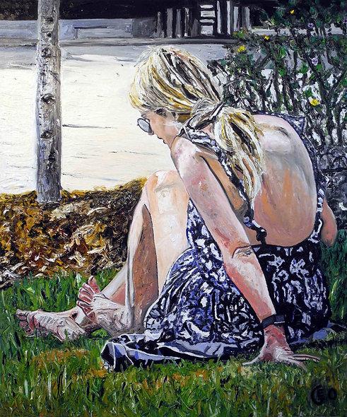 100 x 120 cm - La jeune fille sur l'herbe
