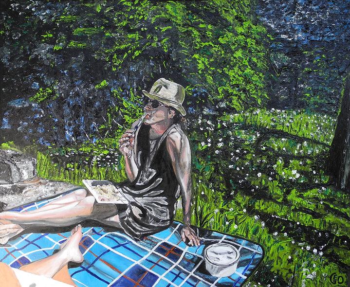 110 x 90 cm - La fille sur l'herbe