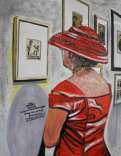 100 x 130 cm - La Dame au chapeau rouge