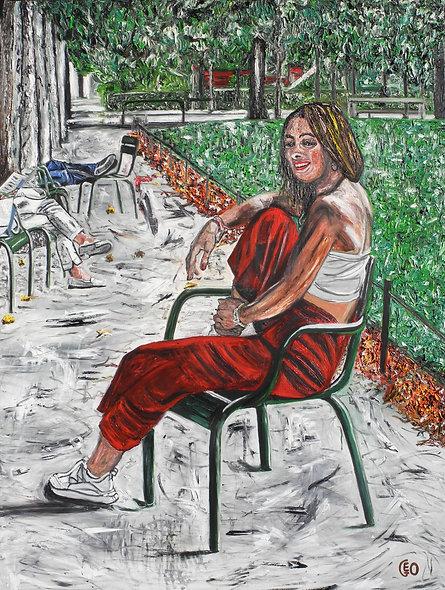120 x 160 cm - Jeune Fille au jardin des tuileries