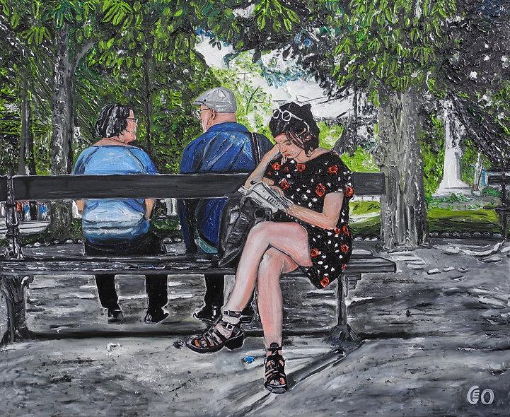 110 x 90 cm - La fille sur le banc