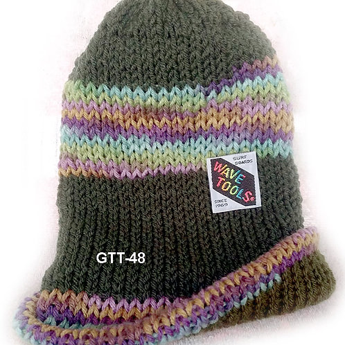 Hunter Green with rainbow colors - Hand Knitted Beanie Hat for Men #48