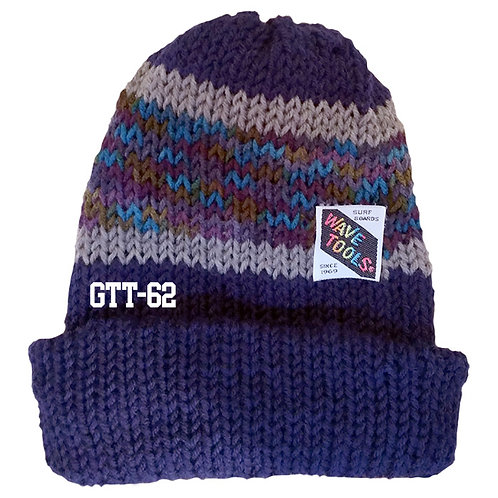 Reversible, blues, grays, mustard colors - Hand Made Beanie #62