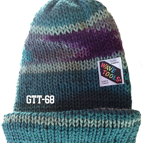 Reversible, Aquas, grays, purples - Hand Made Beanie #68