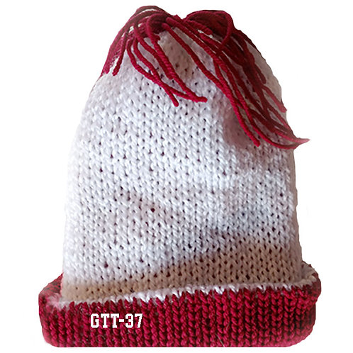 WHITE & CRIMSON RED COLOR - Hand Knitted Beanie Hat for Men and Women