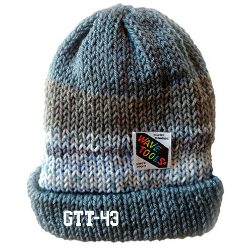 DUSTY BLUE- GRAY RAINBOW COLOR - Hand Knitted Beanie Hat for Men and Women