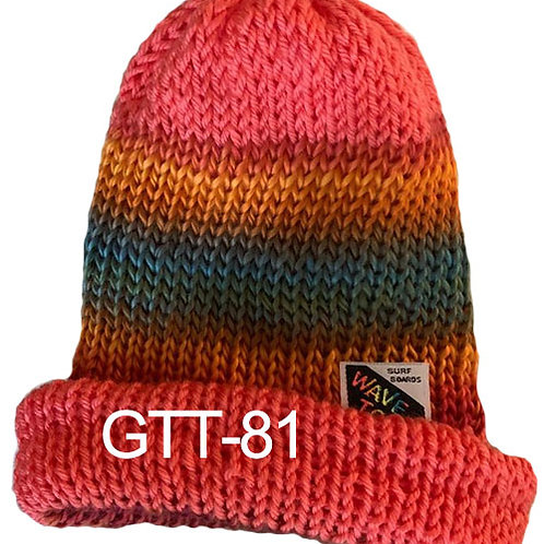 Reversible, Peach, Rainbow of turquoise and golds - Hand Made Beanie #81