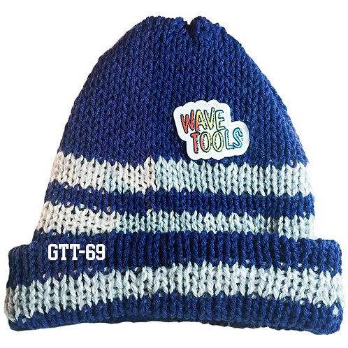 Reversible, Royal Blue, White - Hand Made Beanie #69
