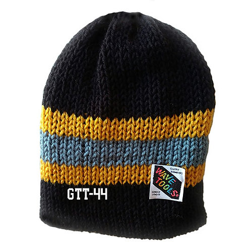 BLACK W/GOLD-BLUE STRIPE- Hand Knitted Beanie Hat for Men and Women #44