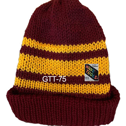 Reversible, Burgandy, Yellow Gold - Hand Made Beanie #75