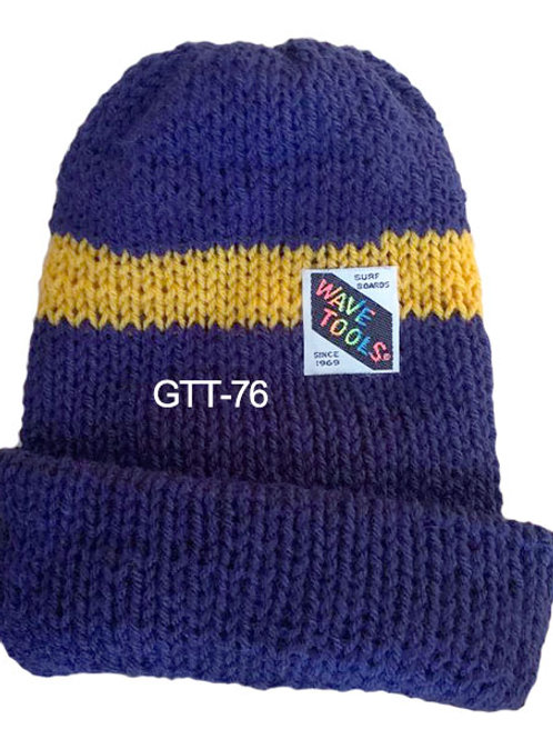Reversible, Royal Blue, Yellow Gold - Hand Made Beanie #76