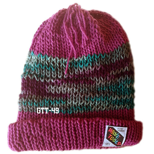 Cranberry and blue, rainbow colors - Hand Knitted Beanie Hat #49