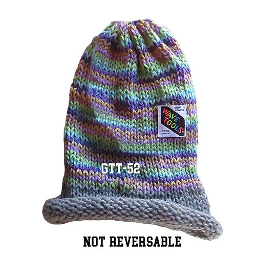 Gray's & Lavenders, rainbow colors - Hand Knitted Beanie #52