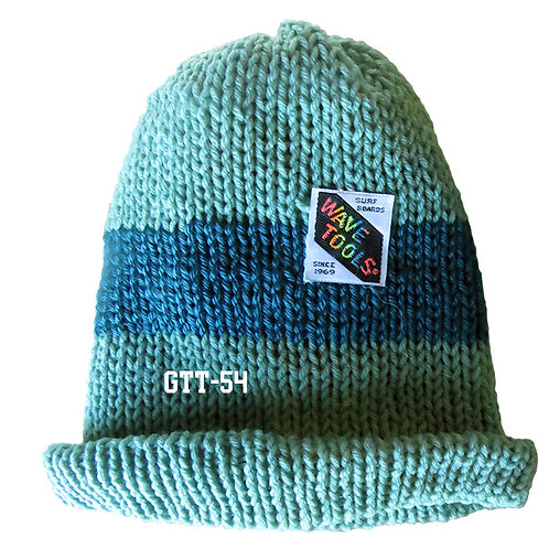 Aqua, & Teal Blue, rainbow colors - Hand Made Beanie #54