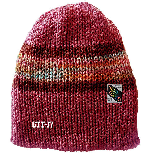 Cranberry w/brown & multi stripes - Hand Knitted Beanie Hat for Men & Women #17