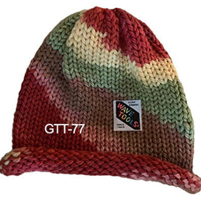 Dusty, reds, green, cream - Single Sided, - Hand Made Beanie #77