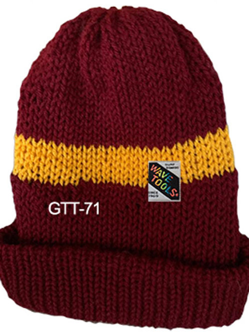 Reversible, Burgandy, Yellow Gold - Hand Made Beanie #71