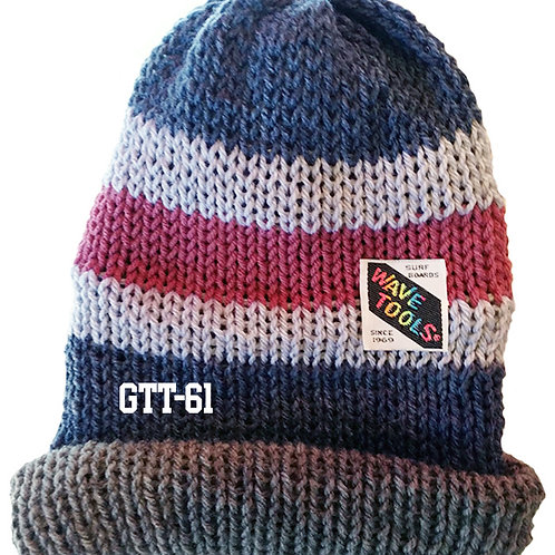 Reversible, blues, grays, berry colors - Hand Made Beanie #61