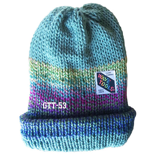 Aqua, Fushia & Blues, rainbow colors - Hand Knitted Beanie #53