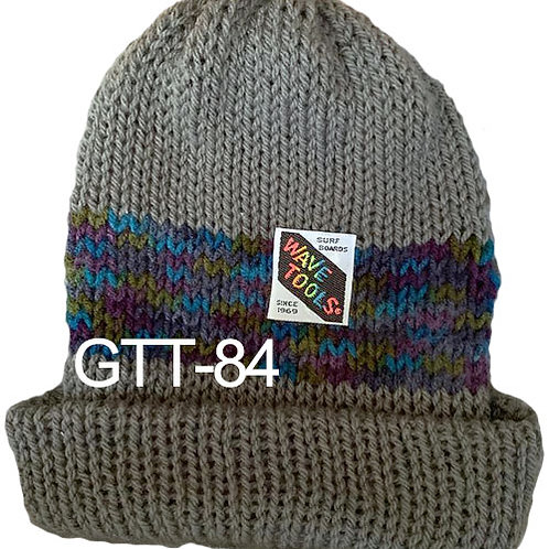 Reversible, Gray, Multi color Blues - Hand Made Beanie #83