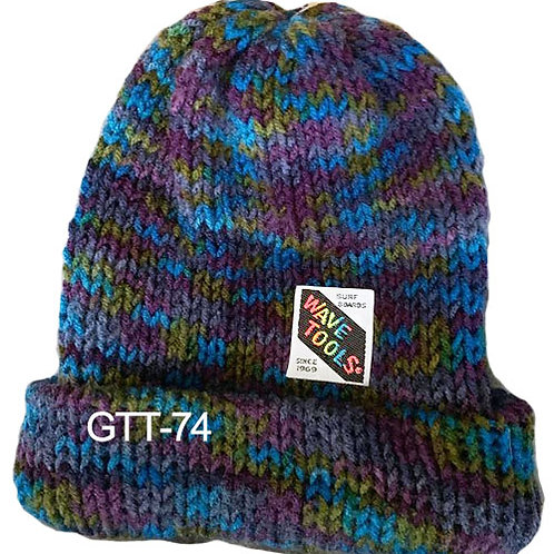Reversible, Blues, purples - Hand Made Beanie #74
