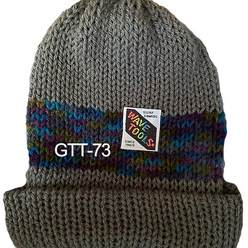 Reversible, Gray, Blues - Hand Made Beanie #73